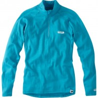 Madison Isoler Merino Women's Zip-Neck Baselayer, Aqua Blue