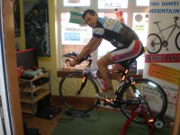 Hoppo turbo training in our shop porch. he covered 1000 miles in 48 hours!!