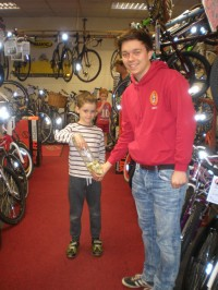 Kieran Dawson with Master Theakston picking the winning ticket