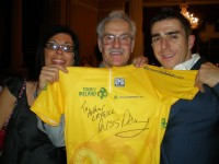 Mandy, Arthur, Russ Downing. With the signed Tour of Ireland jersey.